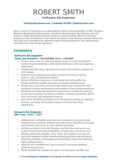 software engineer resume format pdf software qa engineer resume sles qwikresume