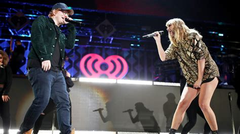 taylor swift ed sheeran end game jingle ball taylor swift brings ed sheeran out for duet at l a jingle