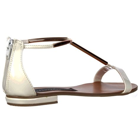Sandal Crome shoekandi gladiator t bar flat sandal gold chrome bar white patent shoekandi from shoekandi uk