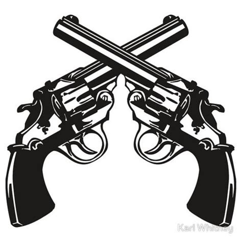 crossed revolvers tattoo pistol clipart two gun pencil and in color pistol