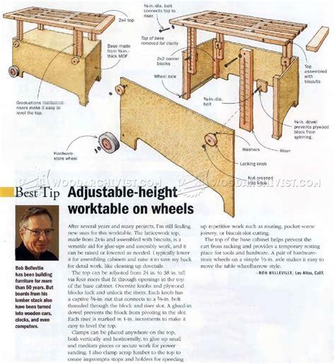 small adjustable work table adjustable height worktable plans woodarchivist