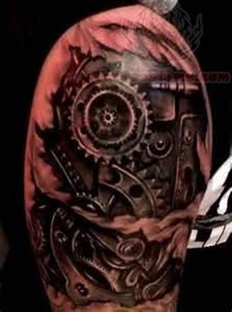 biomechanical gear tattoo sleeve biomechanical gears tattoo on shoulder tattoos book 65