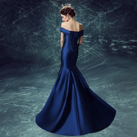 Dress Satin 002 blue satin the shoulder mermaid dress