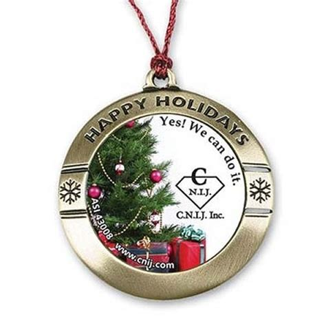 round happy holiday custom photo art christmas ornament