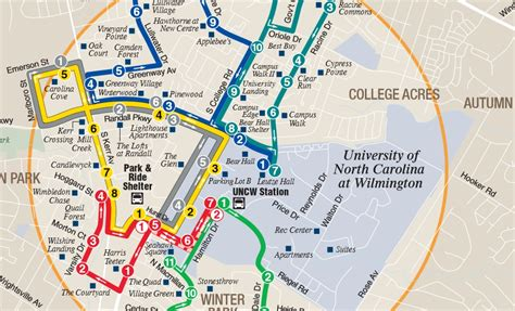 uncw map about transportation uncw