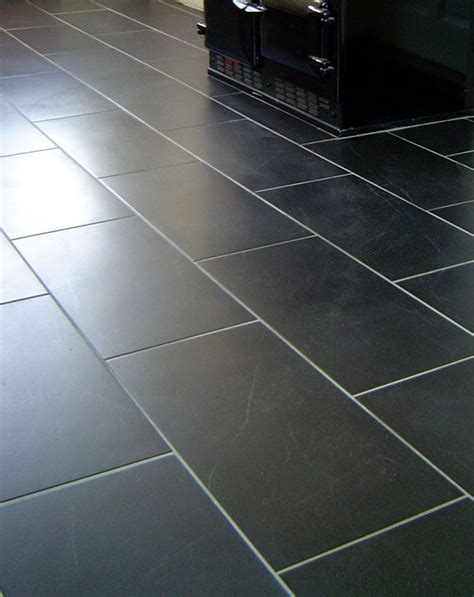 dark floor tile with white grout for the home pinterest