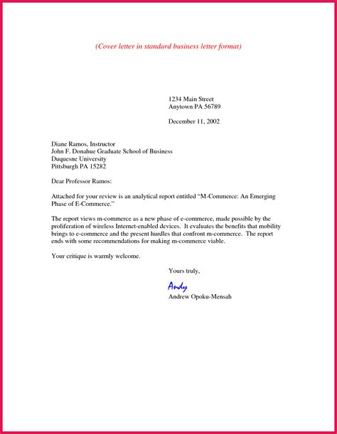 what is the format for a cover letter business cover letter format sop exles