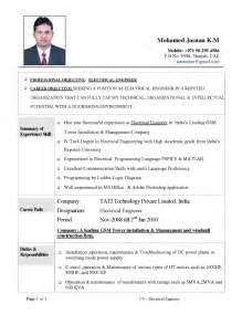 cv format for engineers resume template exle