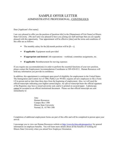 What Is Included In A Job Offer Letter Sle Templates Bonus Template
