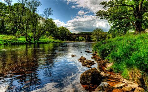 rivers england scenery bolton wharfe grass hdr nature