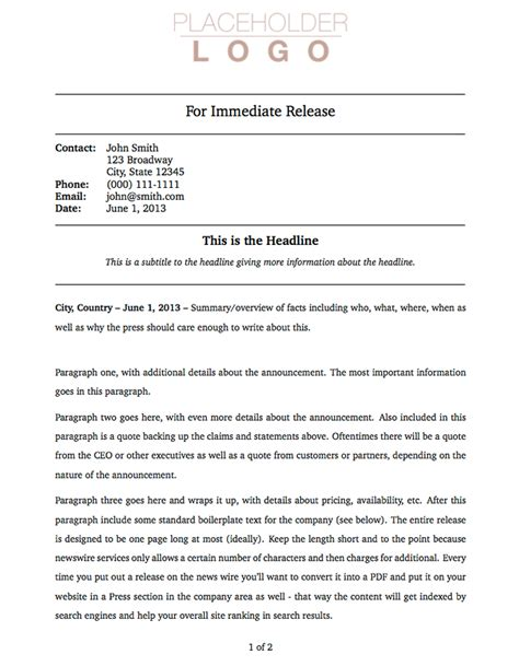 book press release template templates 187 press release