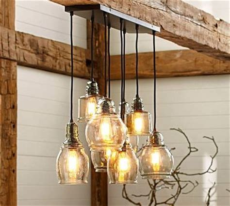Light Fixtures Pottery Barn Paxton Blown Glass 8 Light Pendant Traditional Pendant Lighting By Pottery Barn