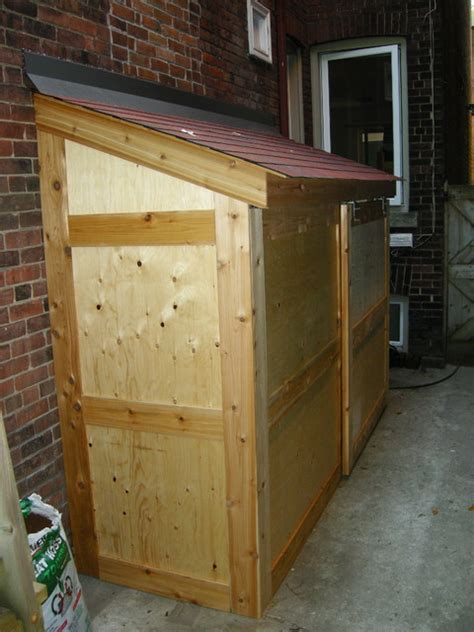 small storage shed  sliding door contemporary