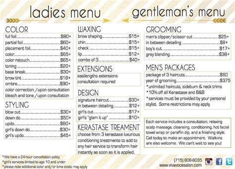 spa menu of services template viva voce hair salon menu with services and prices