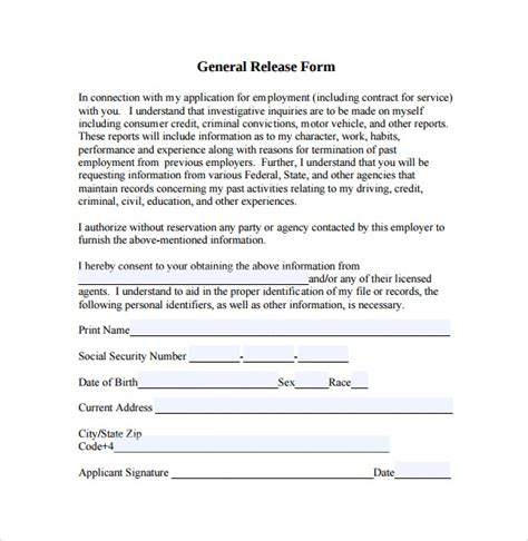 general release of information form template sle general release form 10 free documents