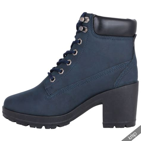 casual combat boots for womens chunky block high heel worker ankle boots cleated