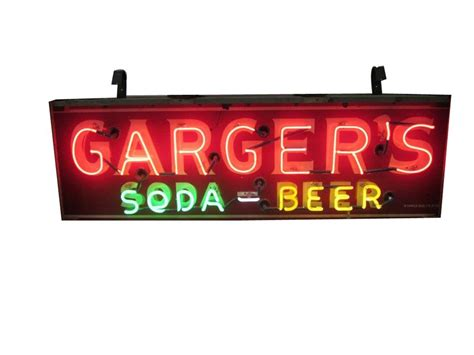 what were beer neon colors in the 50s and 60s original 1940s 50s garger s soda sided neon porce