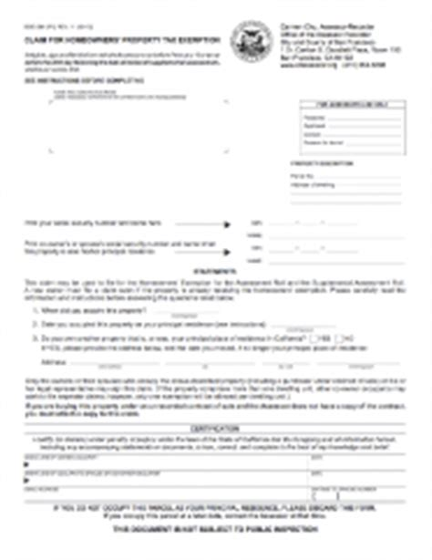 Sf Property Tax Records Homeowners Exemption Claim Form Version Ccsf
