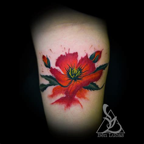 watercolor tattoo artists california colorful watercolor california poppy wrist by ben