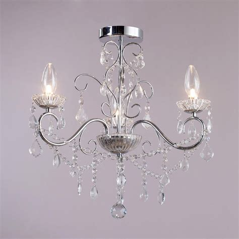 3 Lt Bathroom Decorative Curved Arm Crystal Effect Chandelier For Bathroom