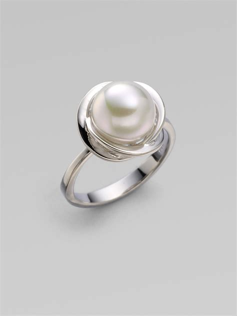 majorica 10mm white pearl flower ring silver in silver lyst