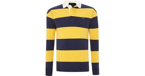 Sleeve Block Stripe White polo ralph sleeve block stripe rugby shirt in blue for lyst