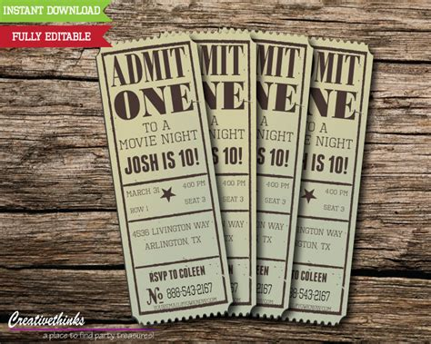 free printable vintage ticket template editable vintage movie ticket invitation digital file