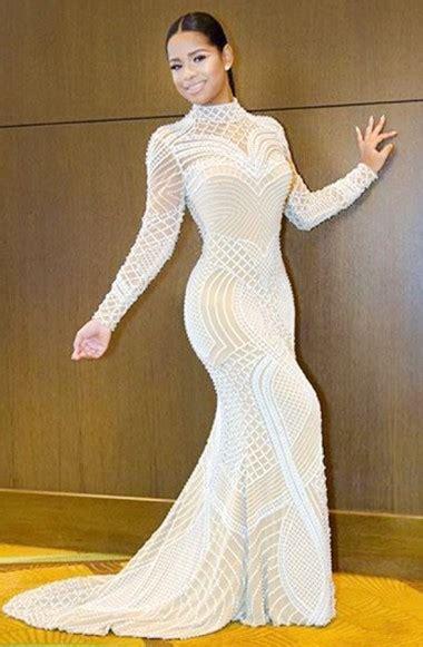 mermaid white sleeves open back beading high neck prom dress