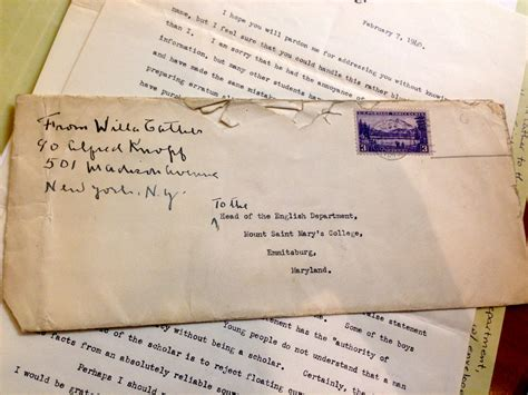College Letter Envelope Format The Media Studies Experience An Afternoon With Willa Cather Notes From Grounds