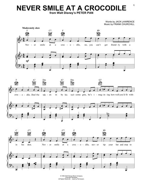 Never Smile At A Crocodile sheet music by Jack Lawrence ...