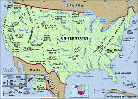 physical features of the united states map united states britannica