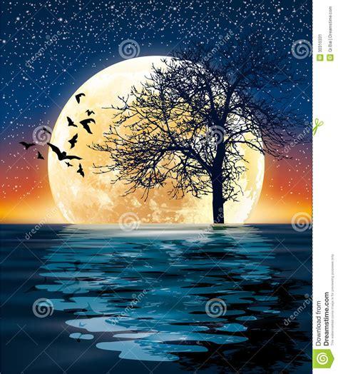 imagenes surrealistas de arboles luna enorme y un 225 rbol en el agua ilustraci 243 n del vector