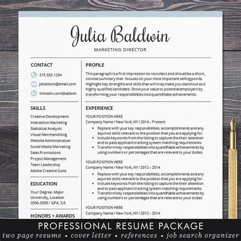 professional resume template for word and for mac pages
