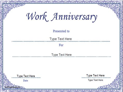 business certificates work anniversary certificate