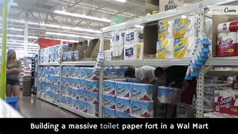 How To Make A Paper Fort - building a toilet paper fort in a wal mart