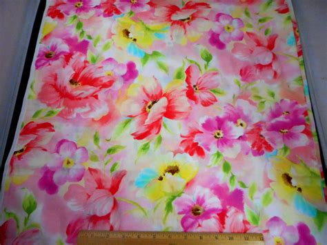 Quilting Cotton by Floral Fabric Bty Large Pastel Flowers On Pink Quilting
