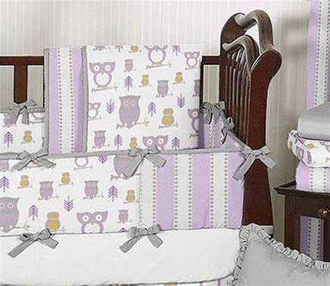 Lavender Gray Purple And White Owl Baby Girl Grey Crib Purple And Grey Crib Bedding