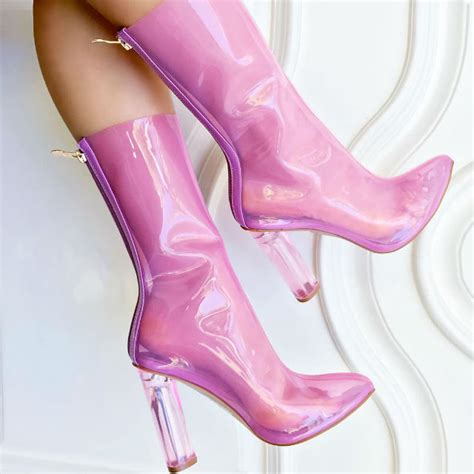 jelly chunky high heel boots