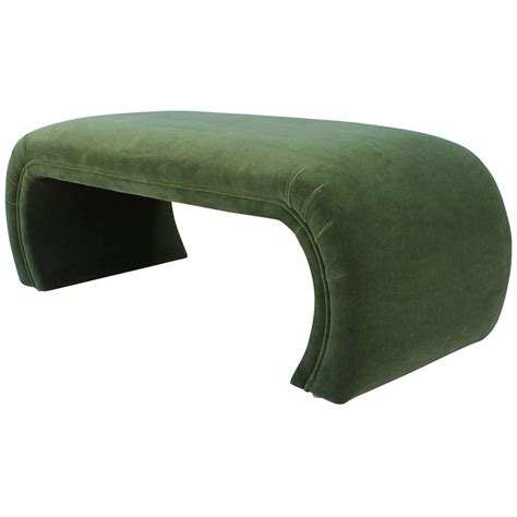 the green benches waterfall bench in green mohair velvet at 1stdibs