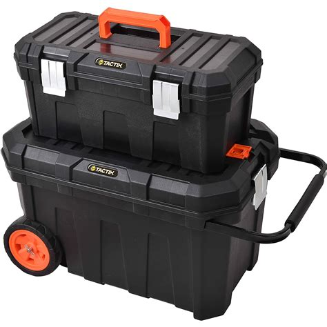 Wheels Box 2 in 1 large rolling heavy duty mobile tool storage box