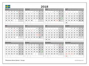 Kalender 2018 Sverige Kalendrar F 246 R Att Skriva Ut 2018 Sverige
