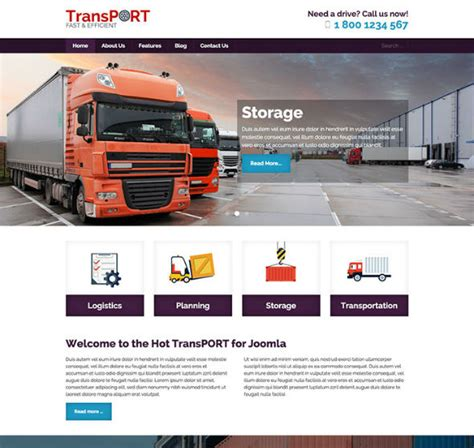 hotjoomlatemplates transport download business joomla template