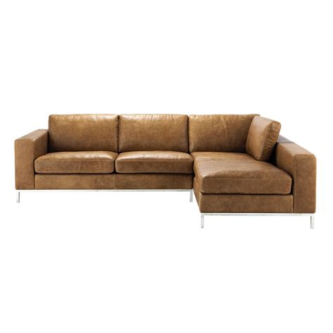 Vintage Leather Corner Sofa 4 Seater Leather Vintage Corner Sofa In Camel Maisons Du Monde