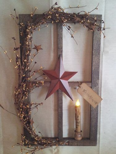 country window candle lights primitive decor stained window pane display country