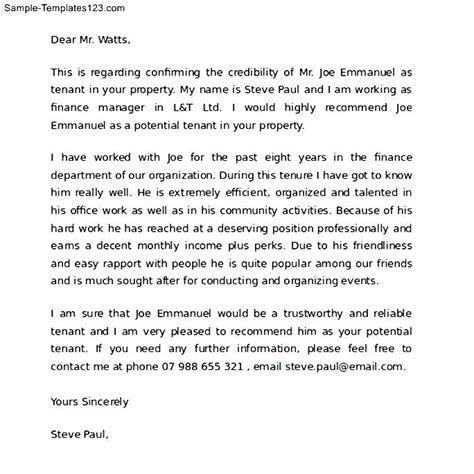 Rental Letter Of Recommendation On A House Reference Letter For A Friend Renting A House Sle Templates