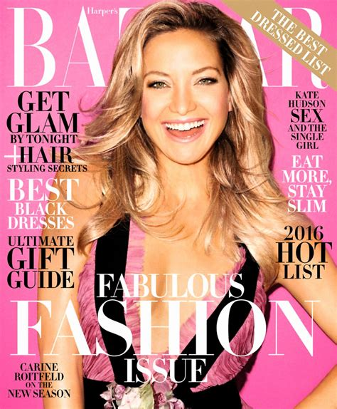 Hudson On The Cover Of Magazine by Kate Hudson S Bazaar Magazine December 2015 Cover