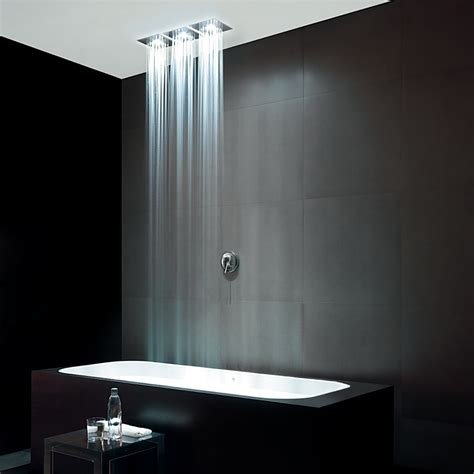 Bath Shower Glass isy ceiling mounted shower with self power light