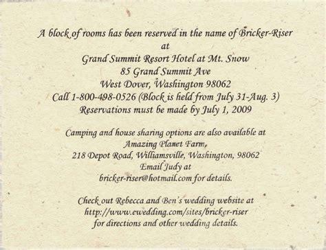 Invitation Letter Accommodation Wedding Accommodation Cards Exles Of Wedding