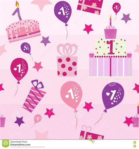birthday pattern pink vector seamless pattern baby girl first birthday stock vector