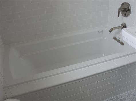 bathroom drops kohler archer drop in tub with daltile subway tile in kohler white 2 tile tub bathrooms